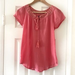 Lucky Brand Pink Short Sleeve Peasant Lace Shirt